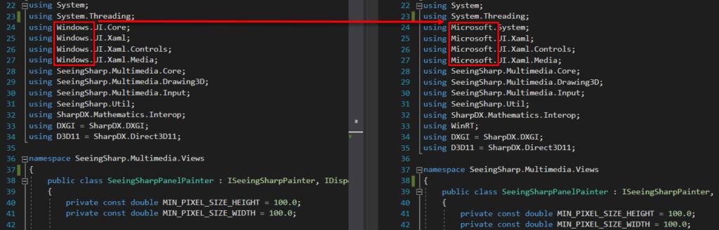 Namespace-Änderung von Windows.* auf Microsoft.*